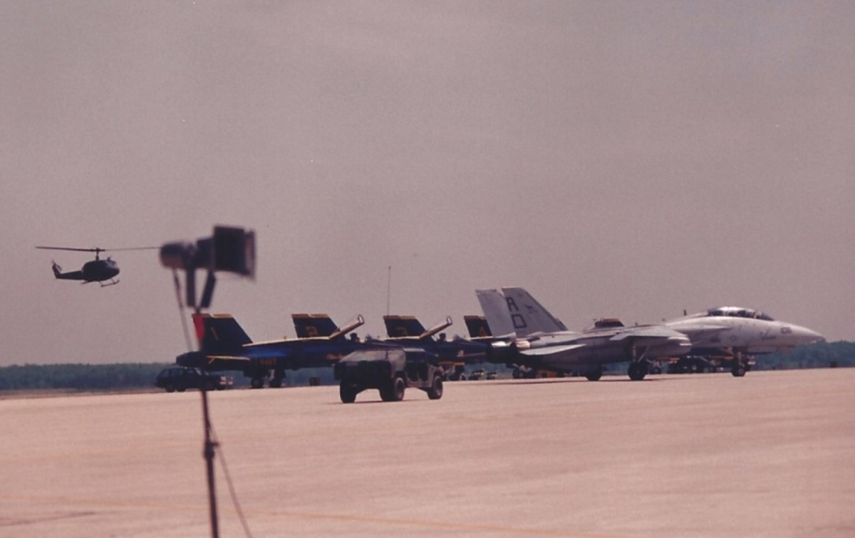An F-14 with F/A-18s of the Blue Angels in the background, Andrews AFB, MD.