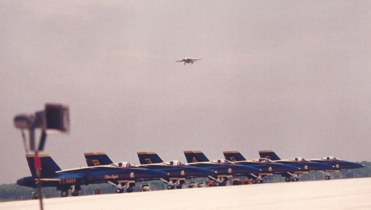 An F-14 in flight with F/A-18s of the Blue Angels on the tarmac at Andrews AFB, MD.