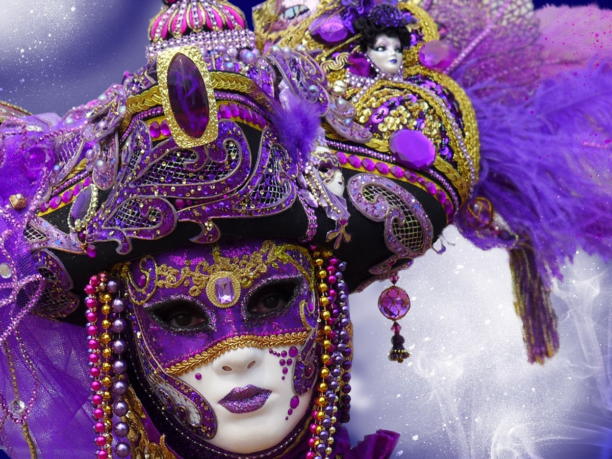The Venetian mask was a mask to disguise the wearer of their wealth and social standing in Venice, Italy. Wearing a mask allowed people of all social strata to mingle among each other.