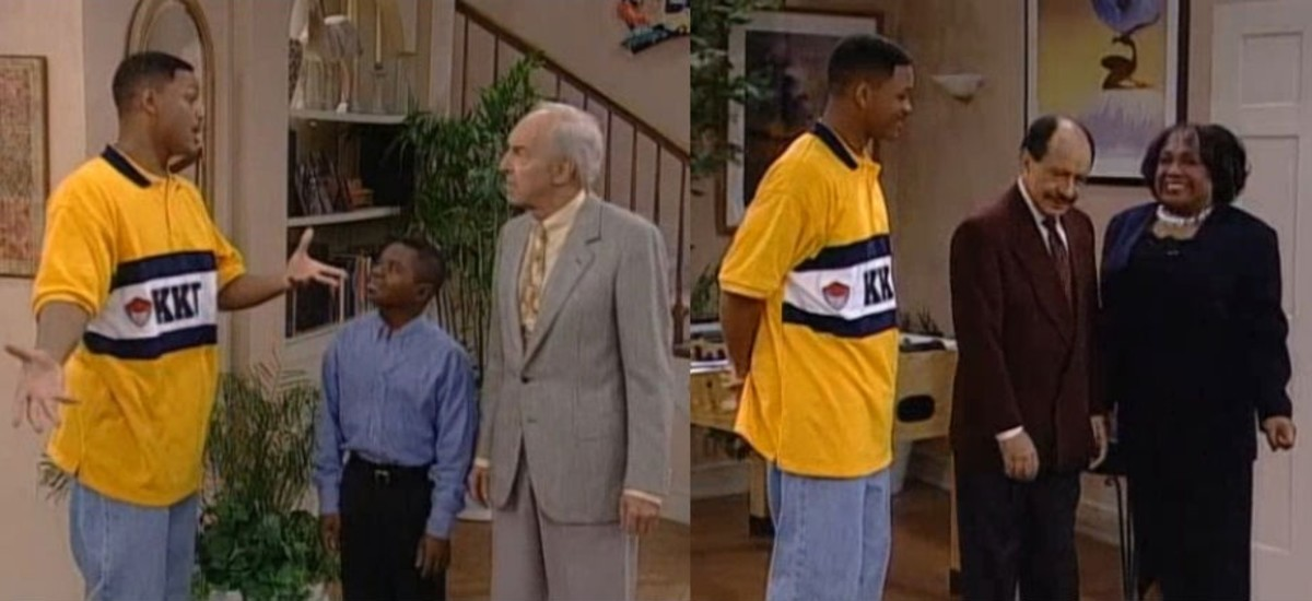 "The Final Episode of ""The Fresh Prince of Bel Air"" Shows George and Weezie Jefferson Attempting to Buy The Banks' Mansion - And yes, That is Arnold and Mr. Drummond from ""Diff'rent Strokes"" attempting to buy the house as well..."