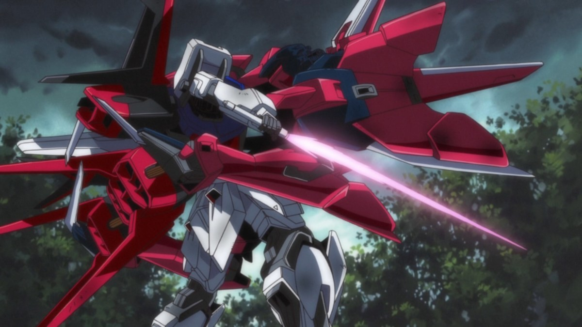 The Strike Gundam locked in the Aegis Gundam claws.