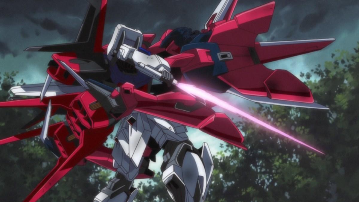 The Strike Gundam locked in the Aegis Gundam claws.