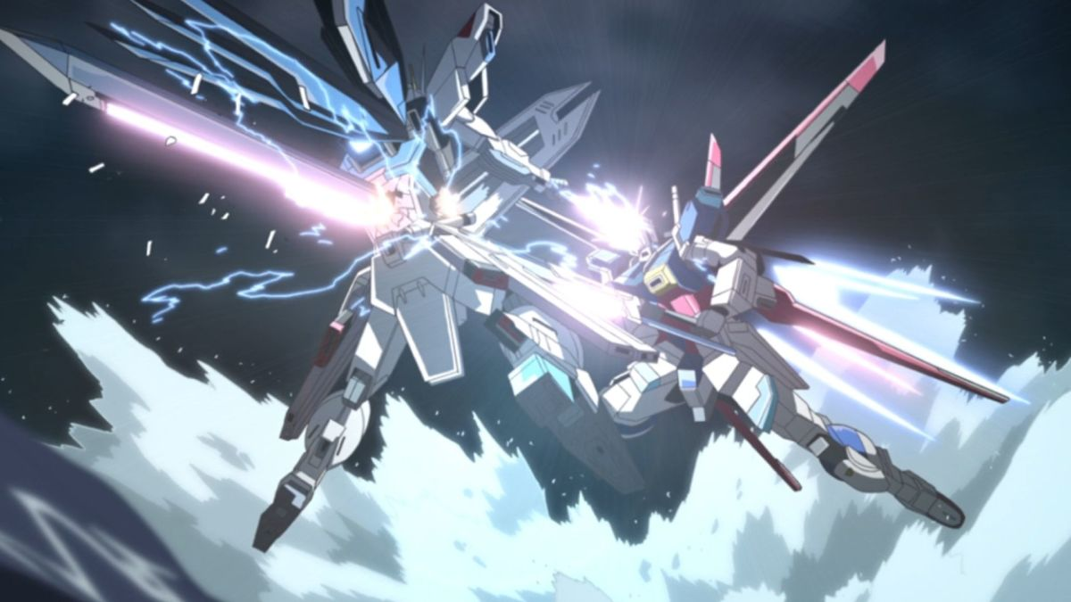 The Impulse Gundam impaling the Freedom Gundam.