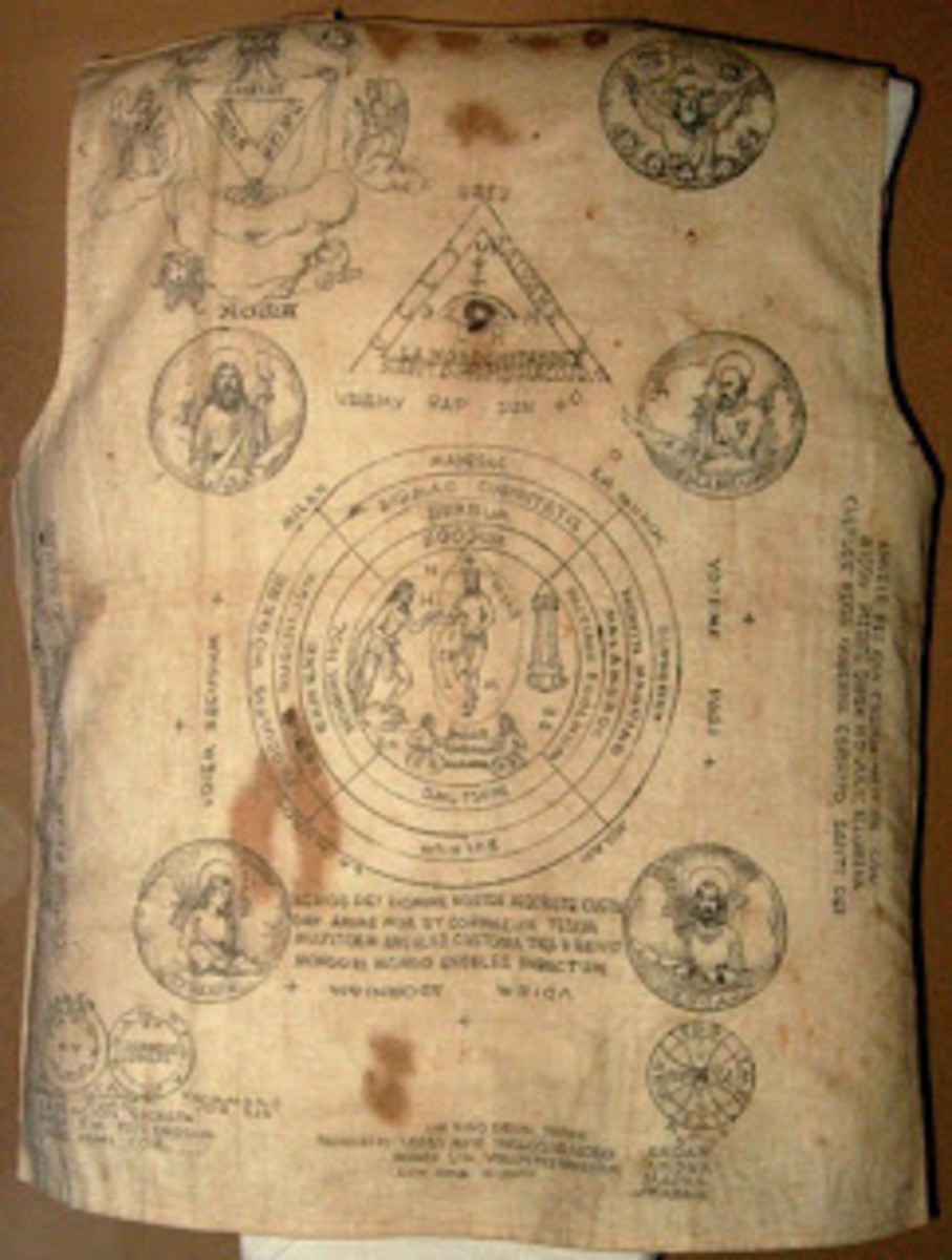 A Vest worn by a Filipino Revolutionary during the Philippine Revolution circa late 1890s-early 1900s. Contains Folk-Catholic prayers in  peasant's butchered Latin, and instructional diagrams on when or where the shirt would work.