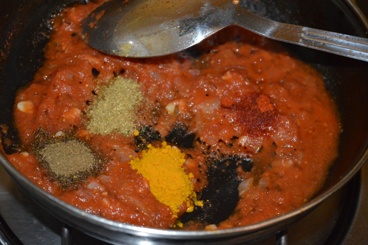 Step four: Now, add all the spices as per instructions. Also, add salt. Saute the mixture for 10 seconds.