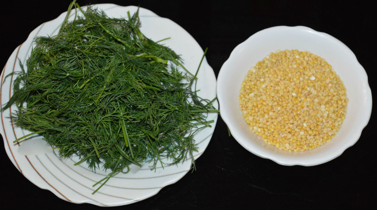 Step one: Wash mung beans in water. Cook it with chopped dill leaves, adding some water as per instructions. Don't overcook them. Set aside.
