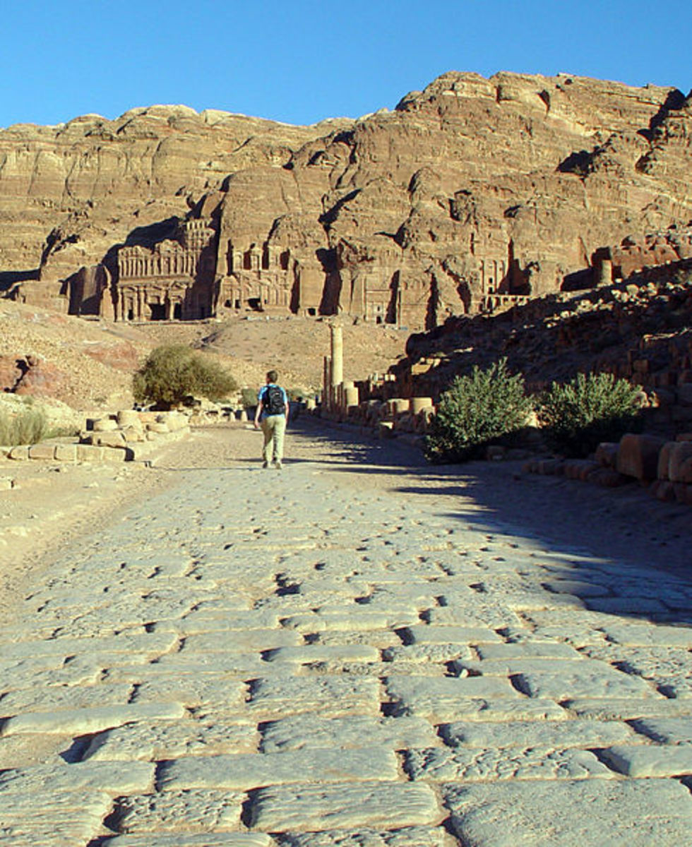 Decumanus Maximus (the intersecting axis of Cardo) was the main street in Petra, Jordan with commercial shops on both sides