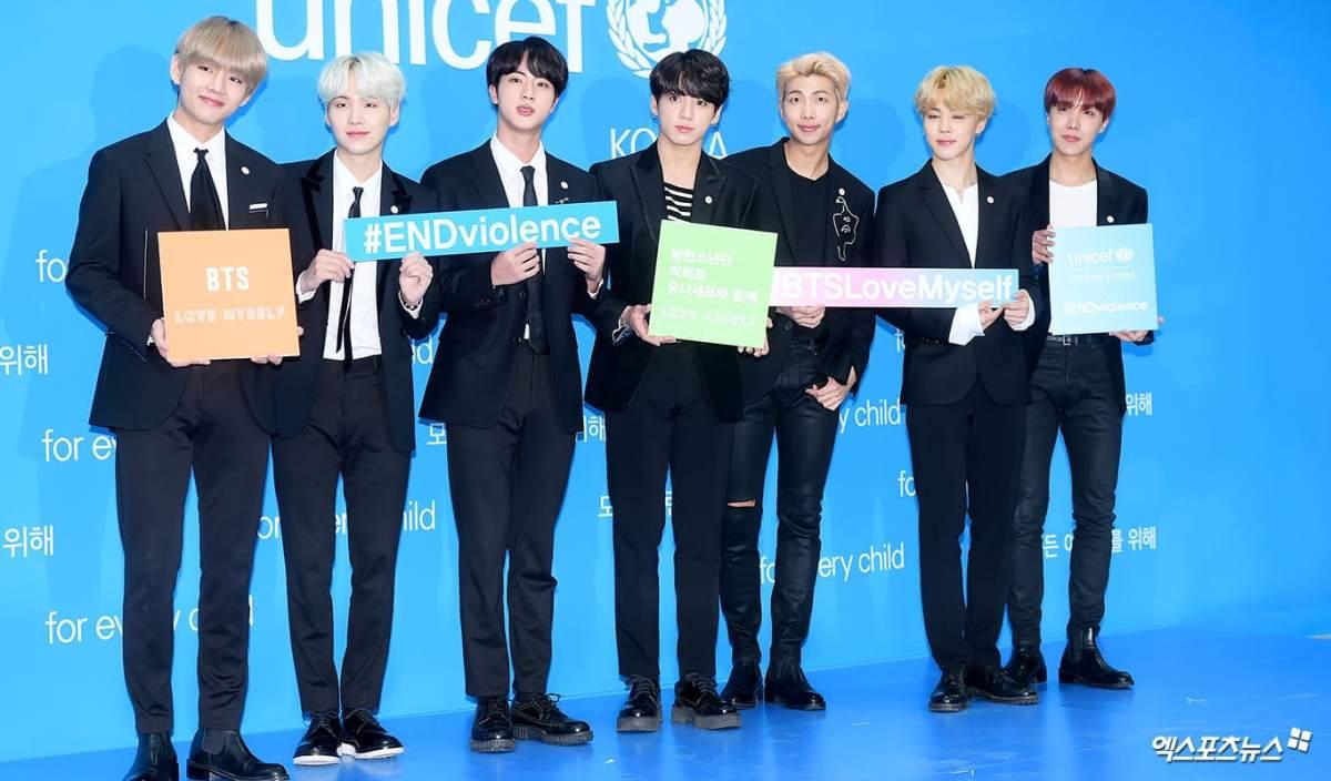 [L-R: Taehyung, Suga, Jin, Jungkook, RM, Jimin, J-Hope]