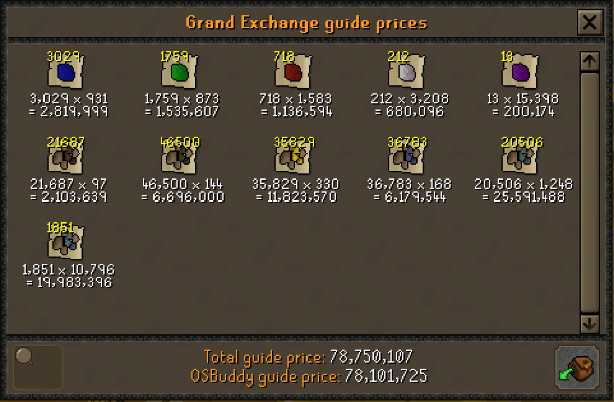 The loot from getting 99 Mining at the Motherlode Mine