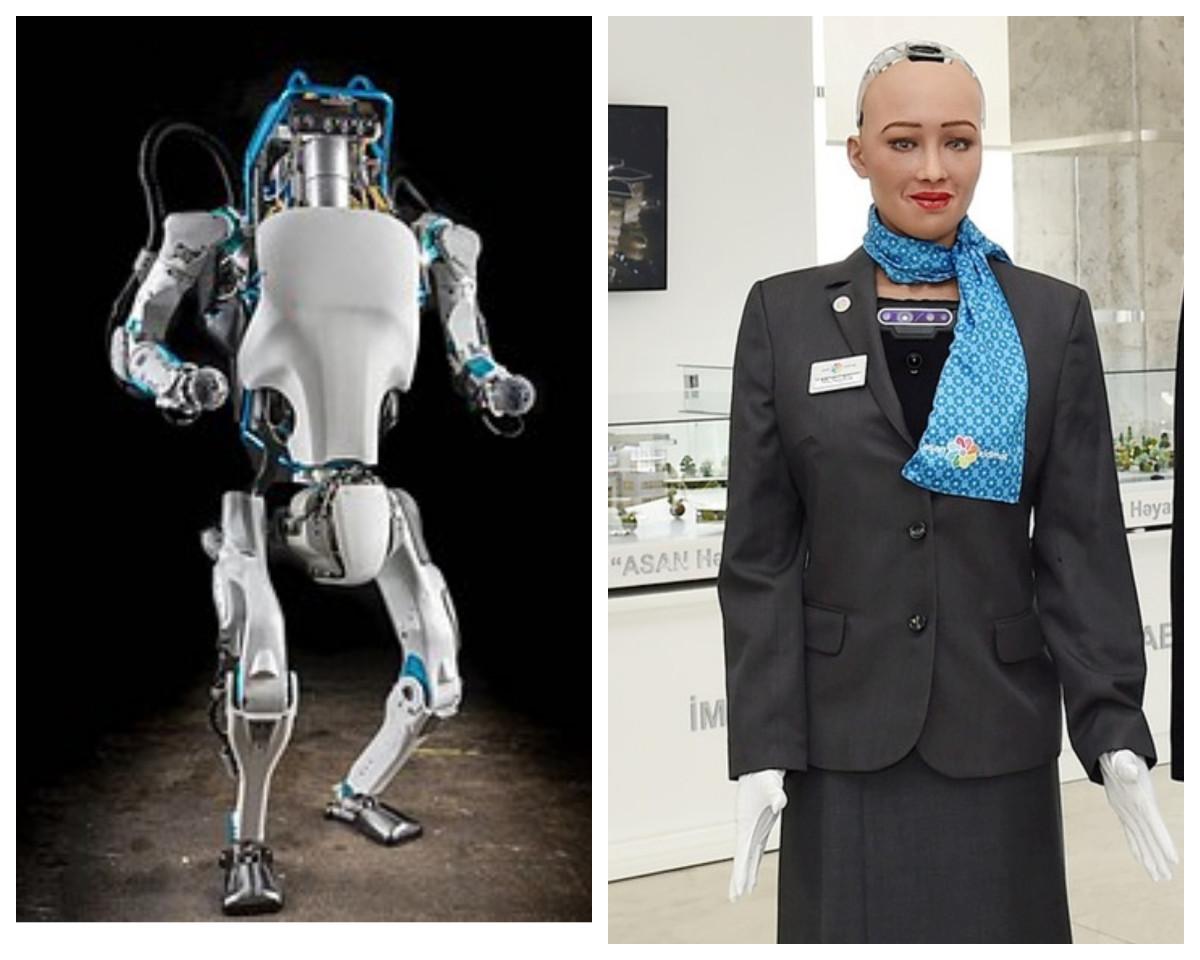 Atlas, an intelligent bipedal humanoid robot made by Boston Dynamics and Sophia a social humanoid robot developed by Hong Kong based company Hanson Robotics