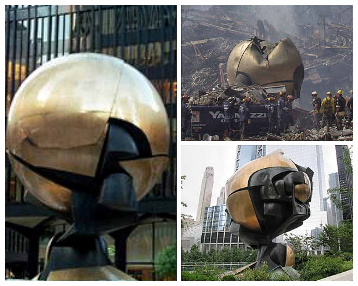 """""""World Peace Through Trade"""" Left photo before 911. Top right photo after 911. Bottom right photo present placement in Liberty Park."""