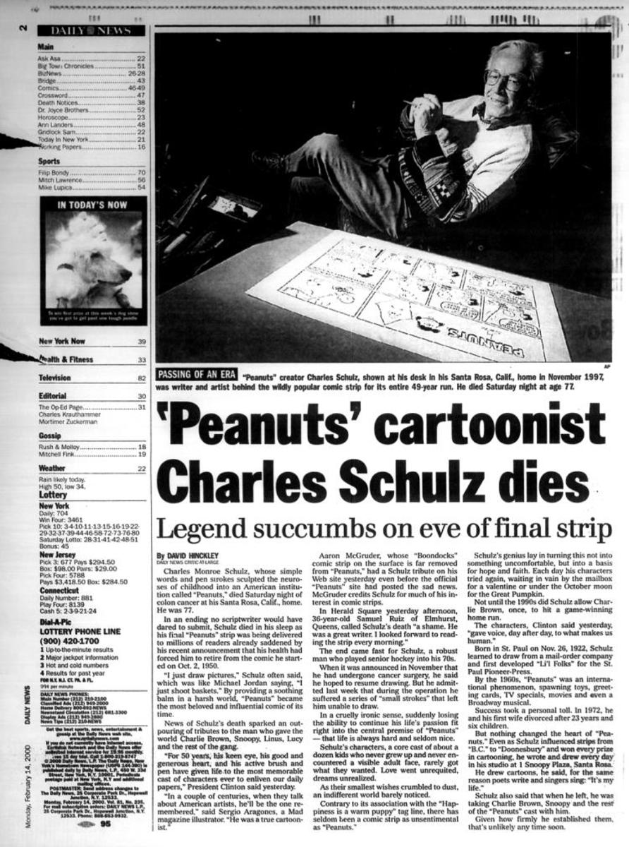 Newspaper announcing death of Charles Schulz