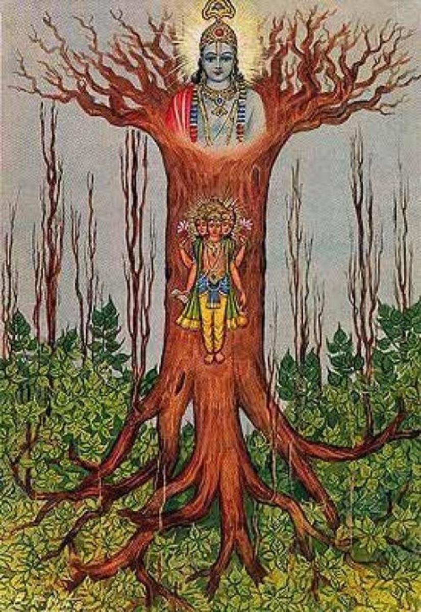 Mystical Banyan Tree of Bhagavad Gita, At the top of the roots, Lord Krishna is illustrated. Below him, there's a human being. His many faces and hands refer to the different phases of life.