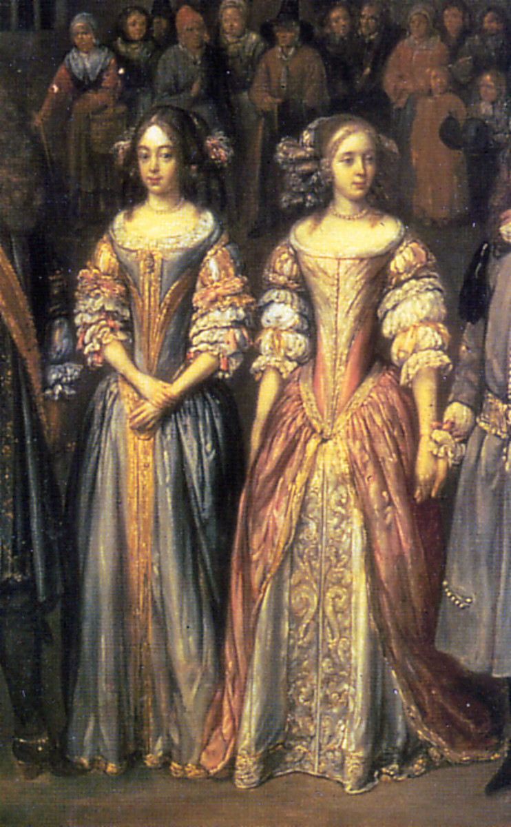 Women with deep V stomachers and virago sleeves circa 1670
