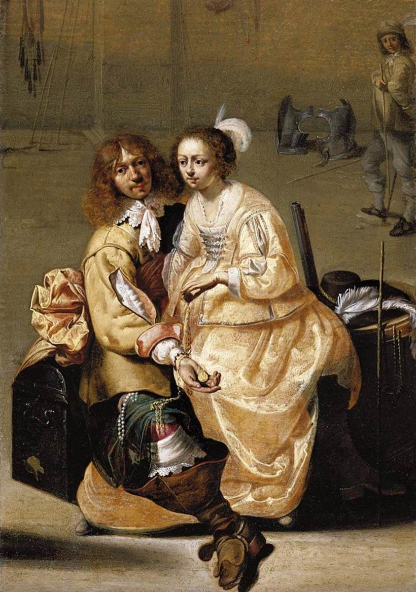 1630 satin high waisted gown. Woman's hair with short curls in front.