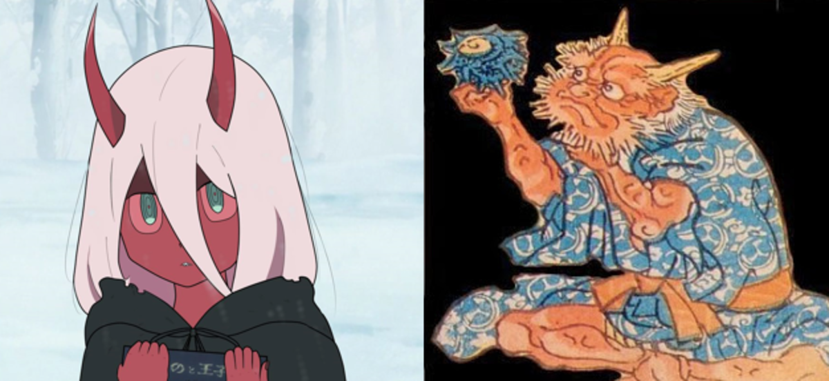 Zero Two's younger version resembled the Japanese Oni (right).