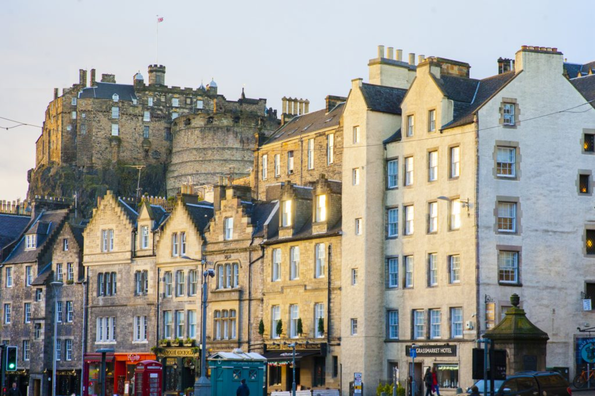 The modern Grassmarket and Edinburgh Castle