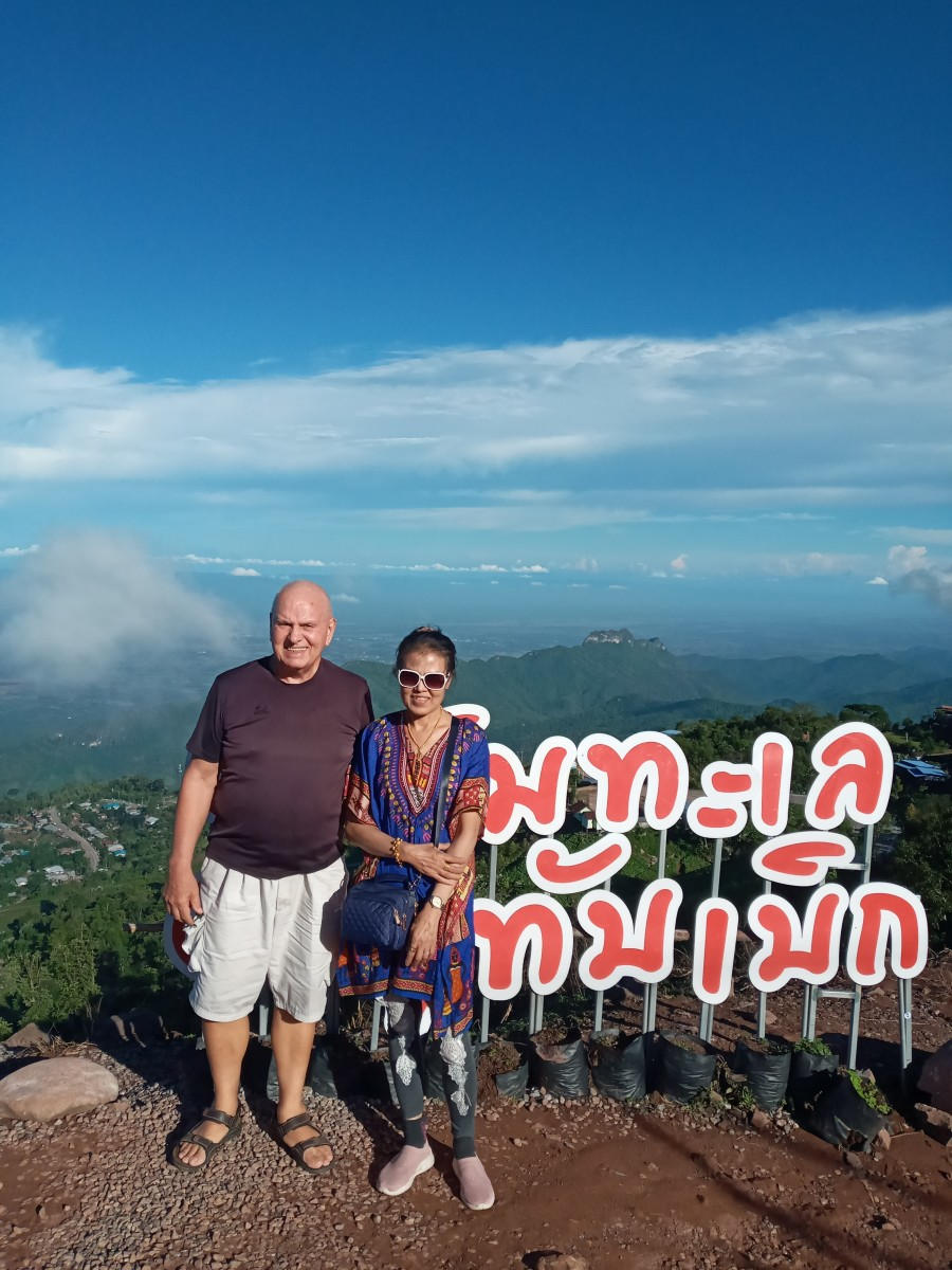 Author and wife on Phu Thap Boek Mountain.  Picture taken in June 2020.