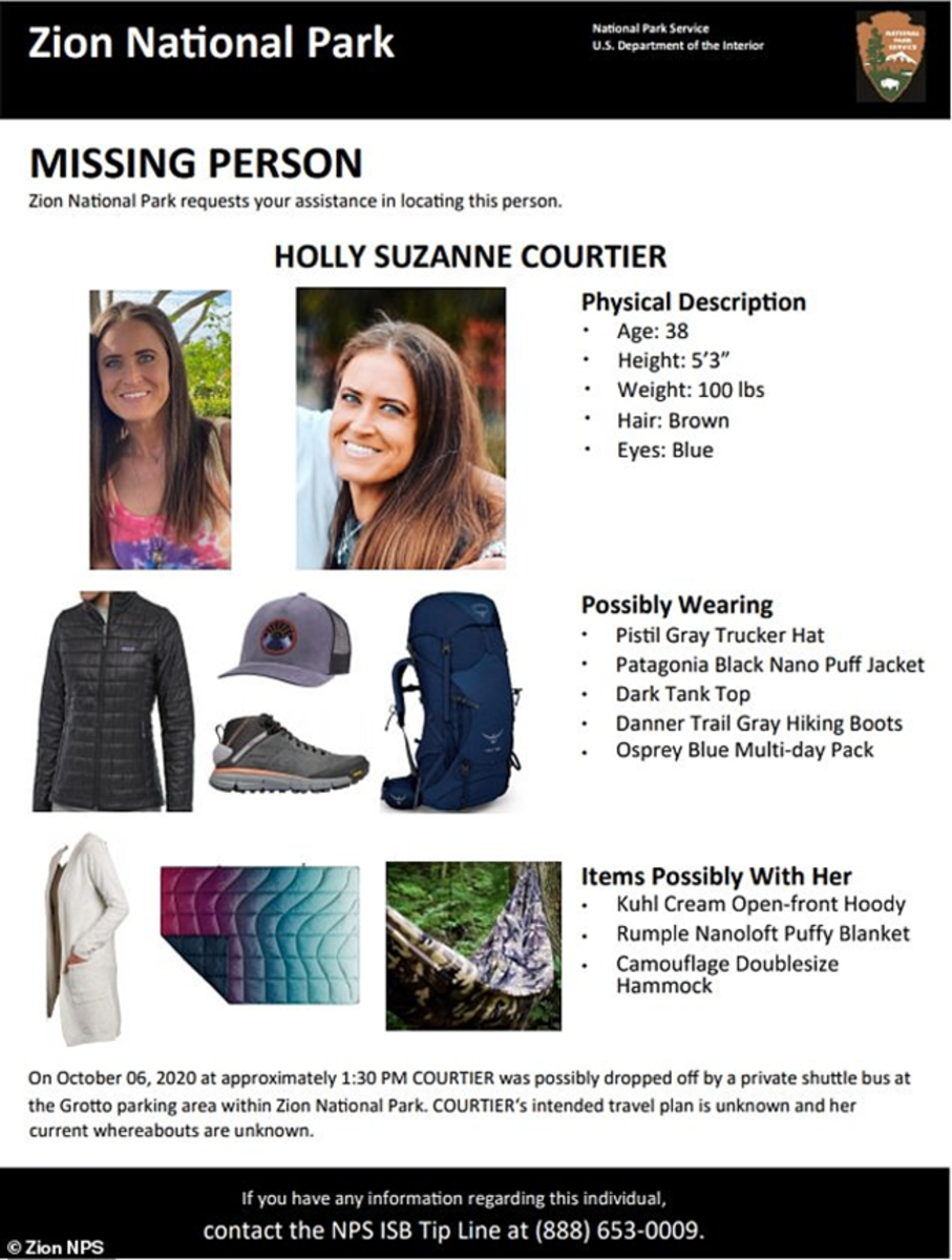 Flyer distributed by the Forest Service of Holly Courtier, who vanished October 6, 2020, in Zion National Park.