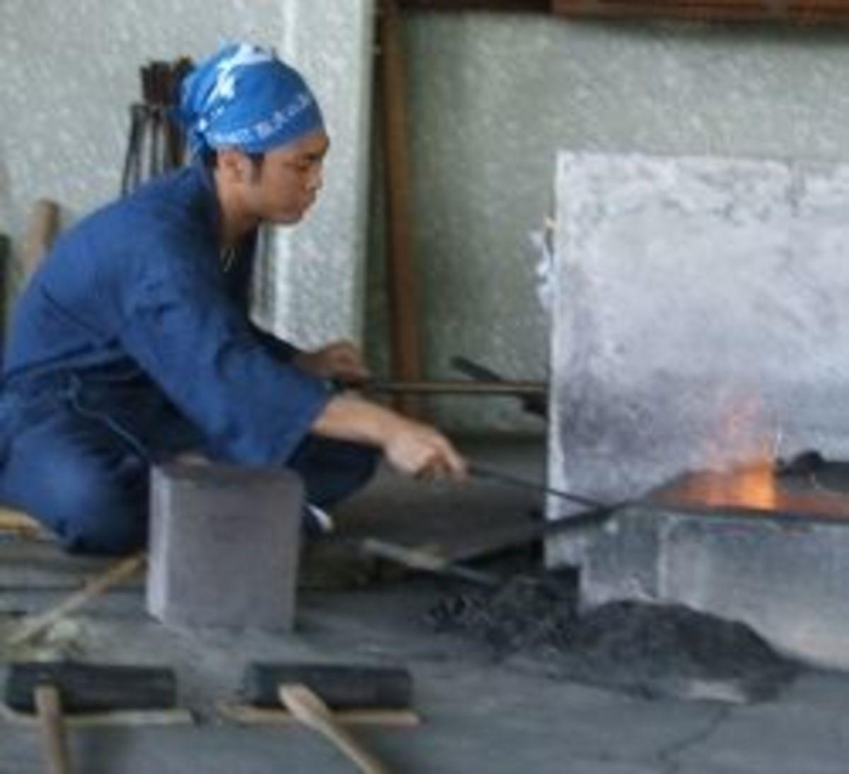 Forging a katana sword
