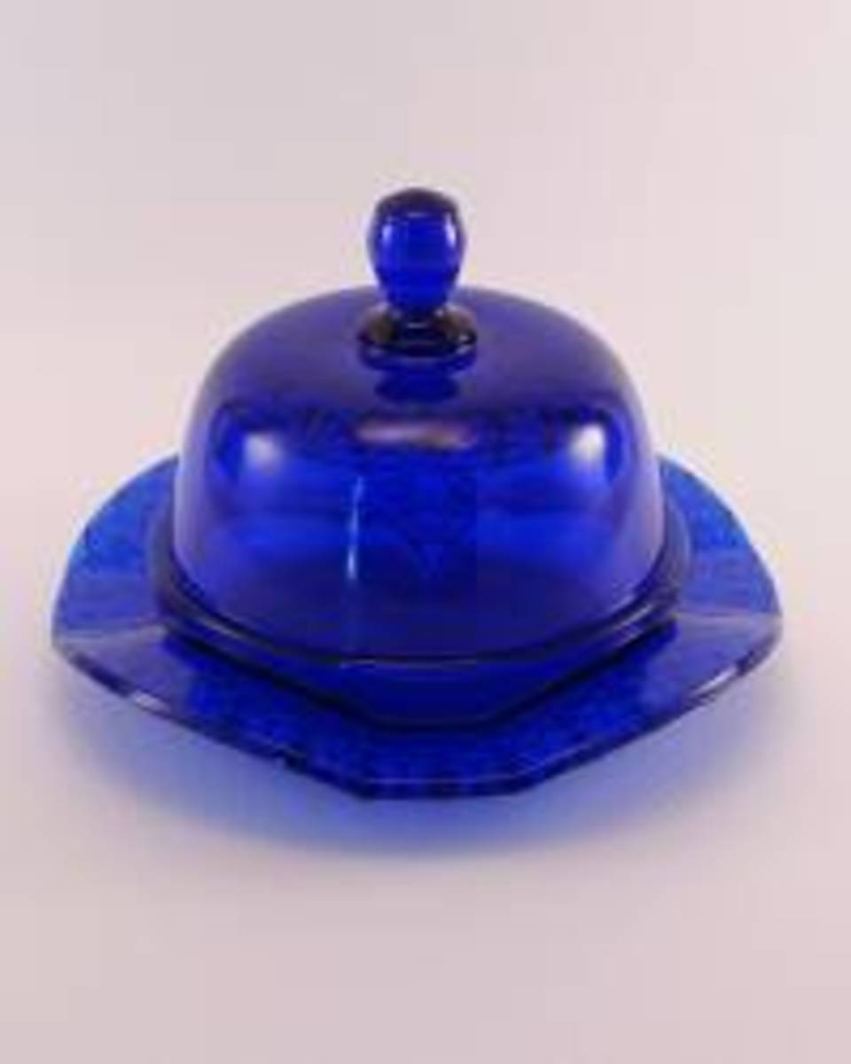 Cobalt Blue Glass Covered Butter Dish