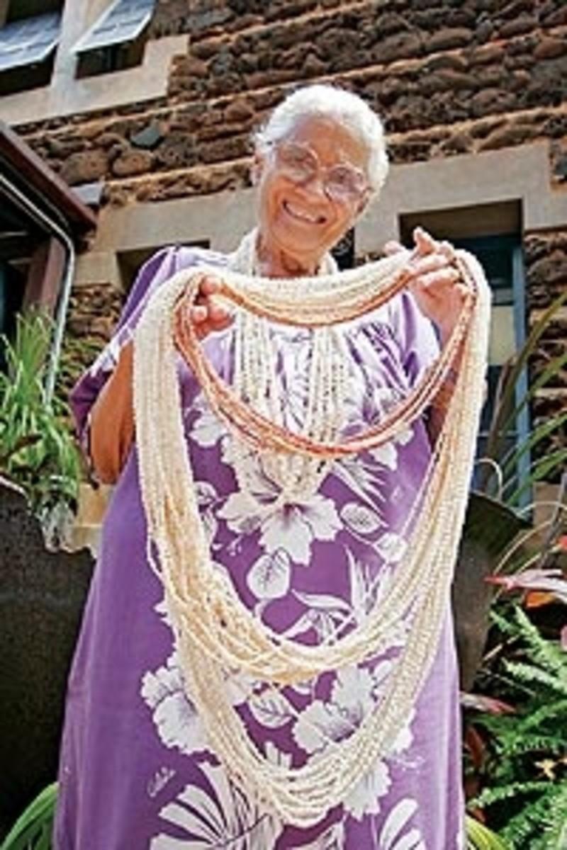Lena Mendonca collects Ni'ihau Leis