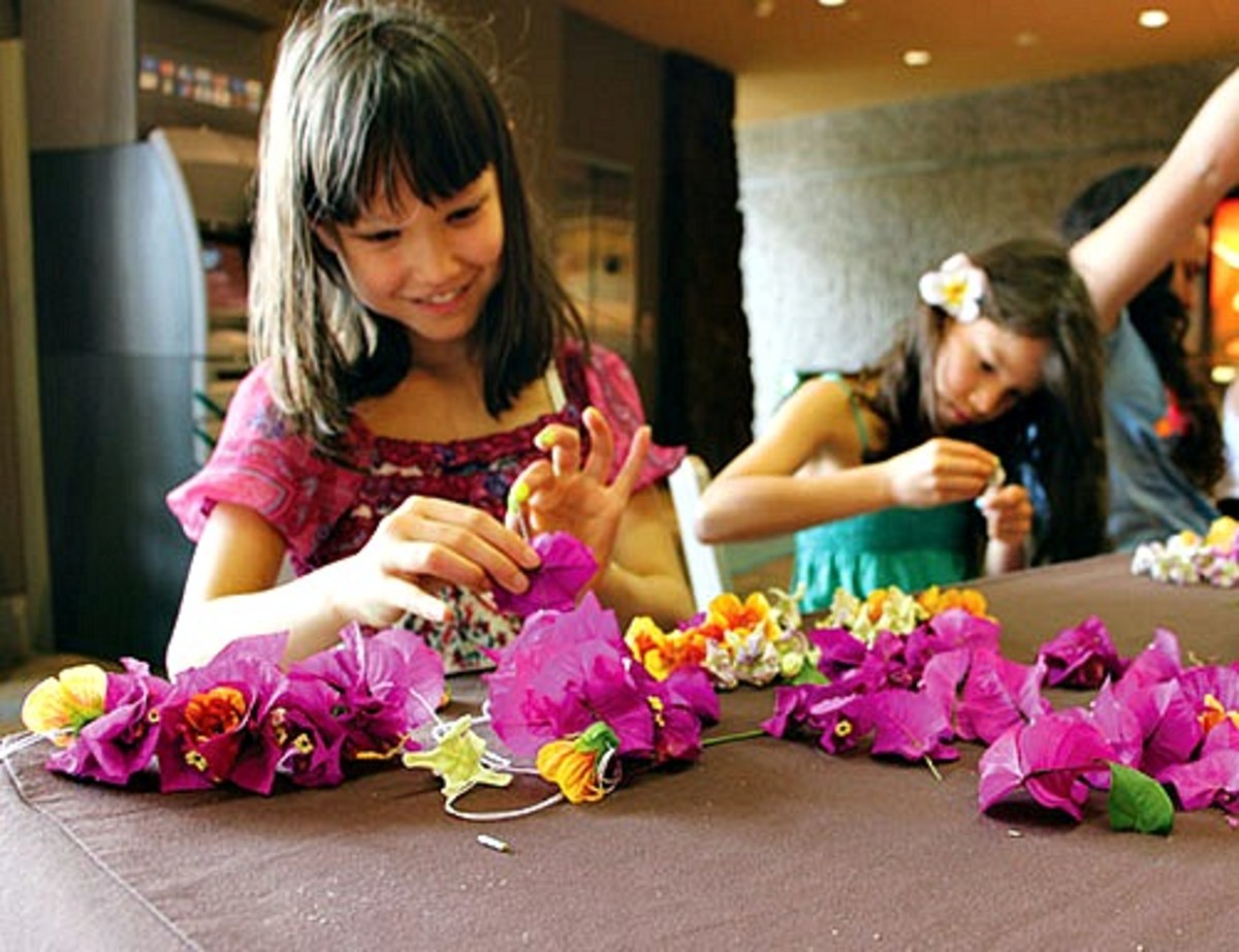 Children Stringing Bougainvillea Leis