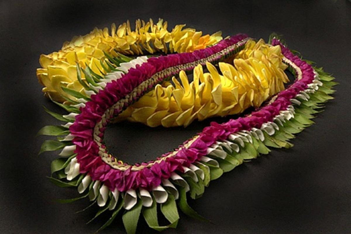 Front Lei, Bougainvillea, Plumeria Petals And Laua'e Leaves; Rear Lei, Hybrid Pua Kenikeni