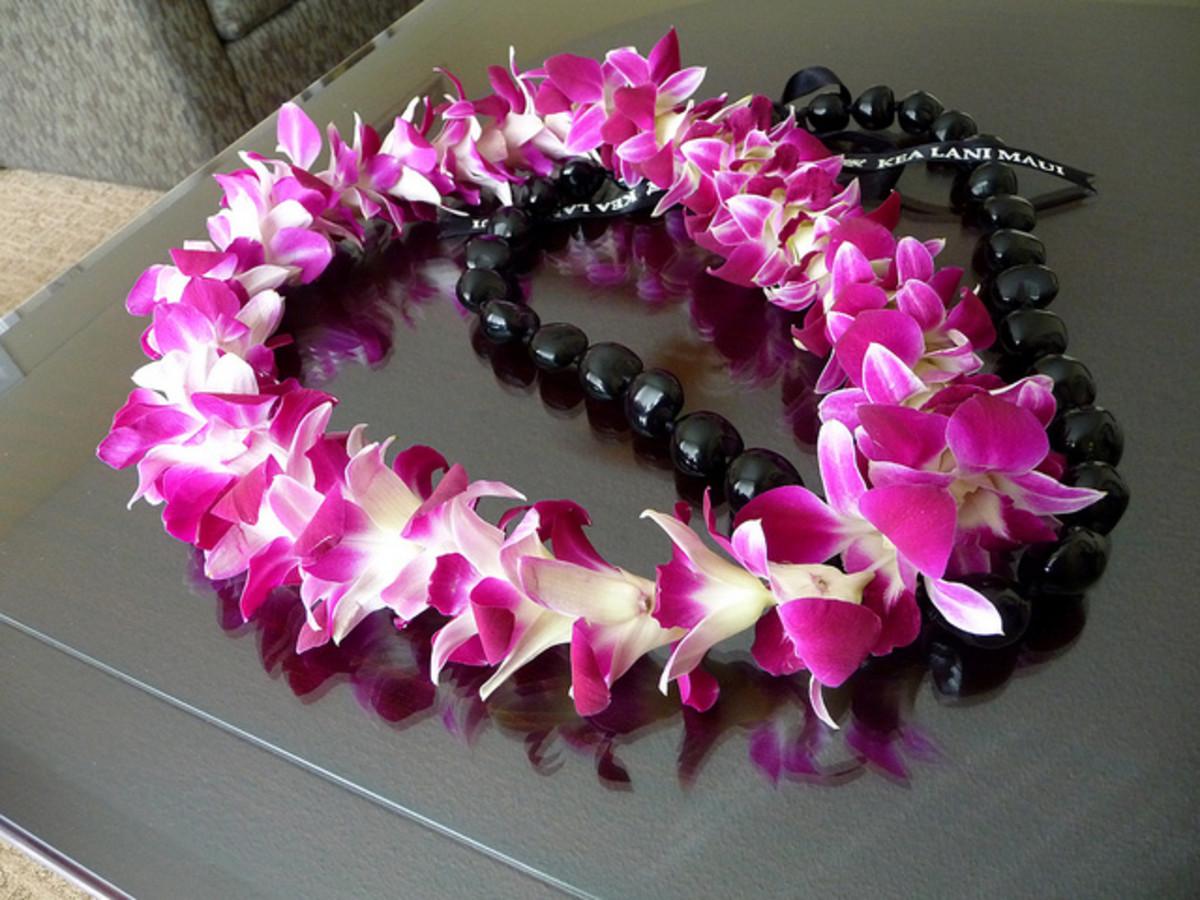 Dendrobium Orchids & Kukui Nut Leis