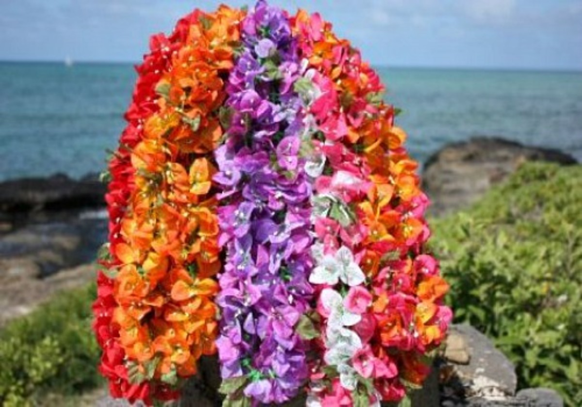 Bougainvillea Leis Displayed at Beach