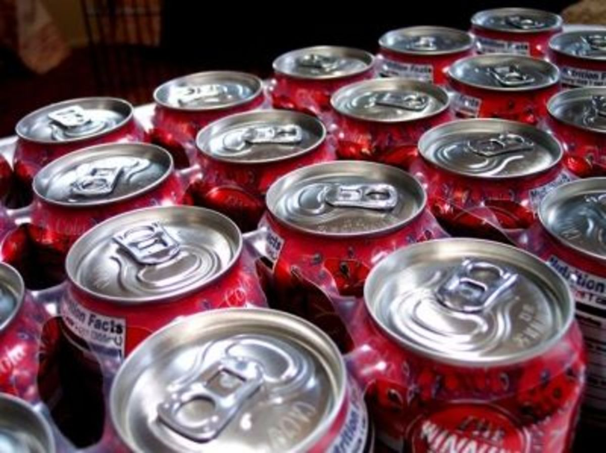 The average person drinks 12 cans of soda a week.
