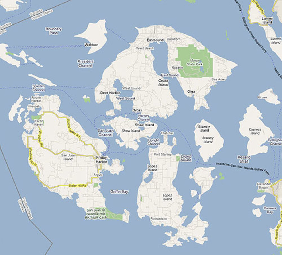A Map of the San Juan Islands showing the Washington State Ferry Route