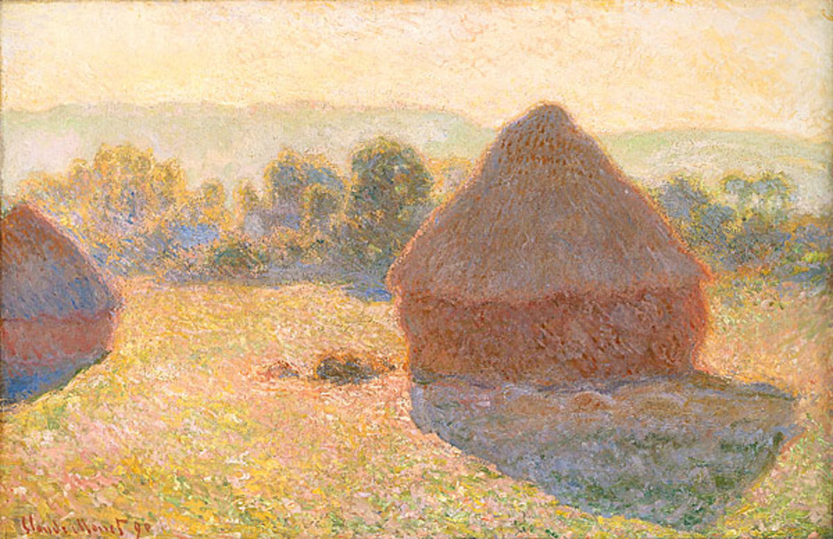 """""""Meules, milieu du jour"""" painted by Claude Money in 1890-91. Oil on canvas; 65.6 × 100.6 cm (25.8 × 39.6 in). Current location: National Gallery of Australia"""