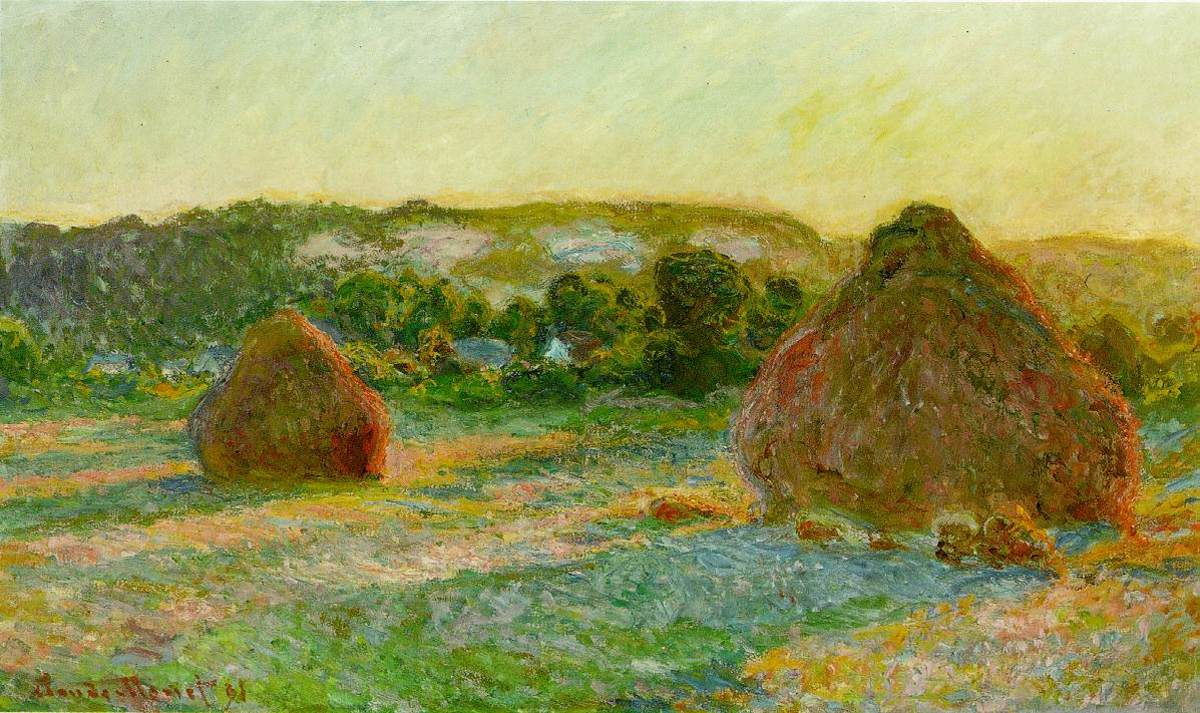 Stacks of Wheat (End of Summer) - painted by Claude Monet in 1897;  oil on canvas, 60 × 100 cm (23.6 × 39.4 in). Current location: Art Institute of Chicago