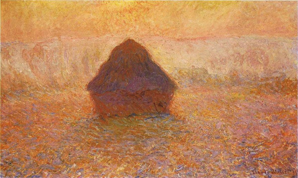 """Grainstacks Snow Effect painted by Claude Monet (1890/91). In French - """"Meules, effet de neige"""". Oil on canvas; 65 × 100 cm (25.6 × 39.4 in). Current location: Minneapolis Institute of Arts"""