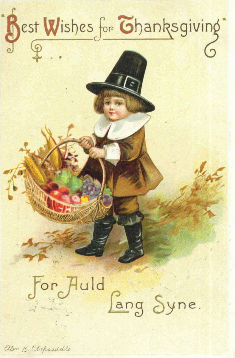 Vintage Thanksgiving post cards: Little pilgrim