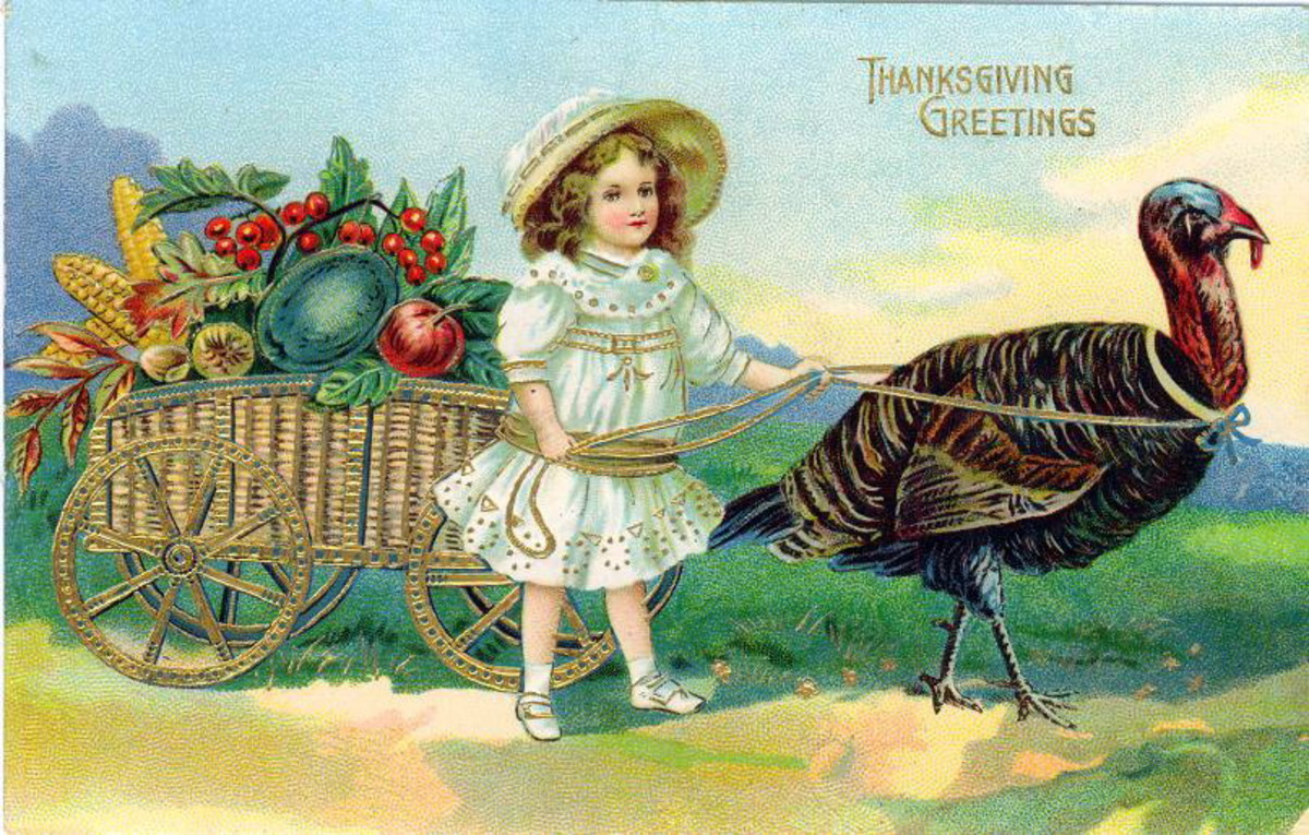 Free vintage Thanksgiving postcards: Girl and turkey