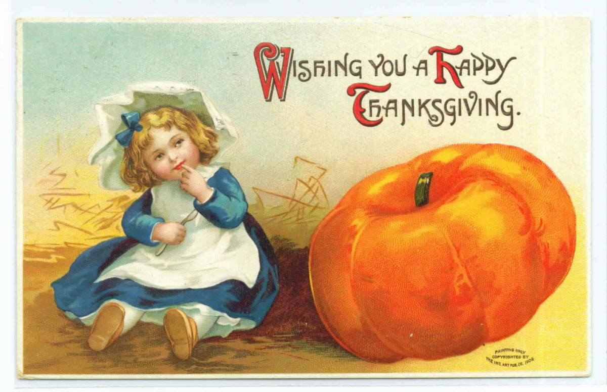 Vintage Thanksgiving postcards: Little girl and pumpkin