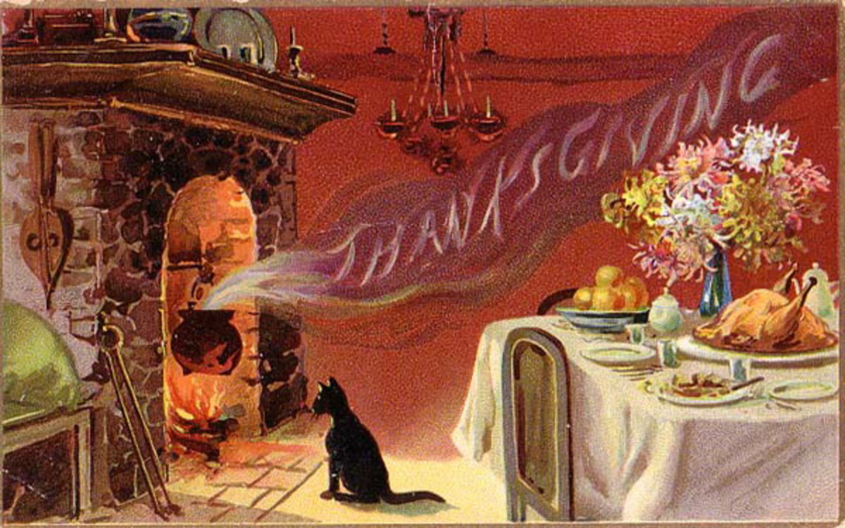 Free vintage Thanksgiving postcards: Fireplace and cat