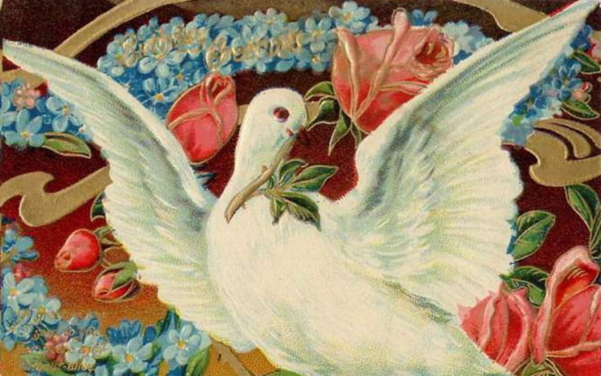 White dove with pink roses and blue flowers free Victorian valentines card