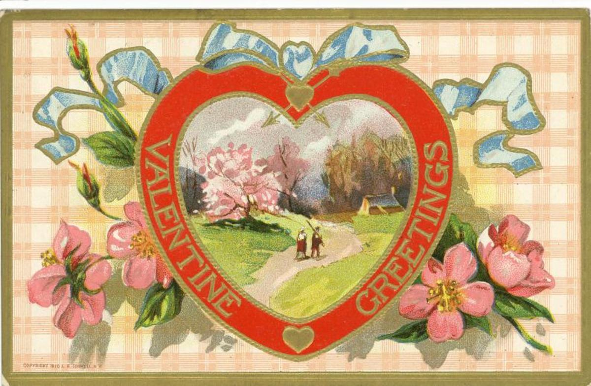 Vintage valentine card with blue bow, gingham background, pink flowers, red heart and country scene