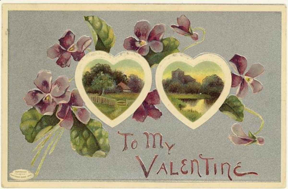 Vintage two hearts valentine card with violets