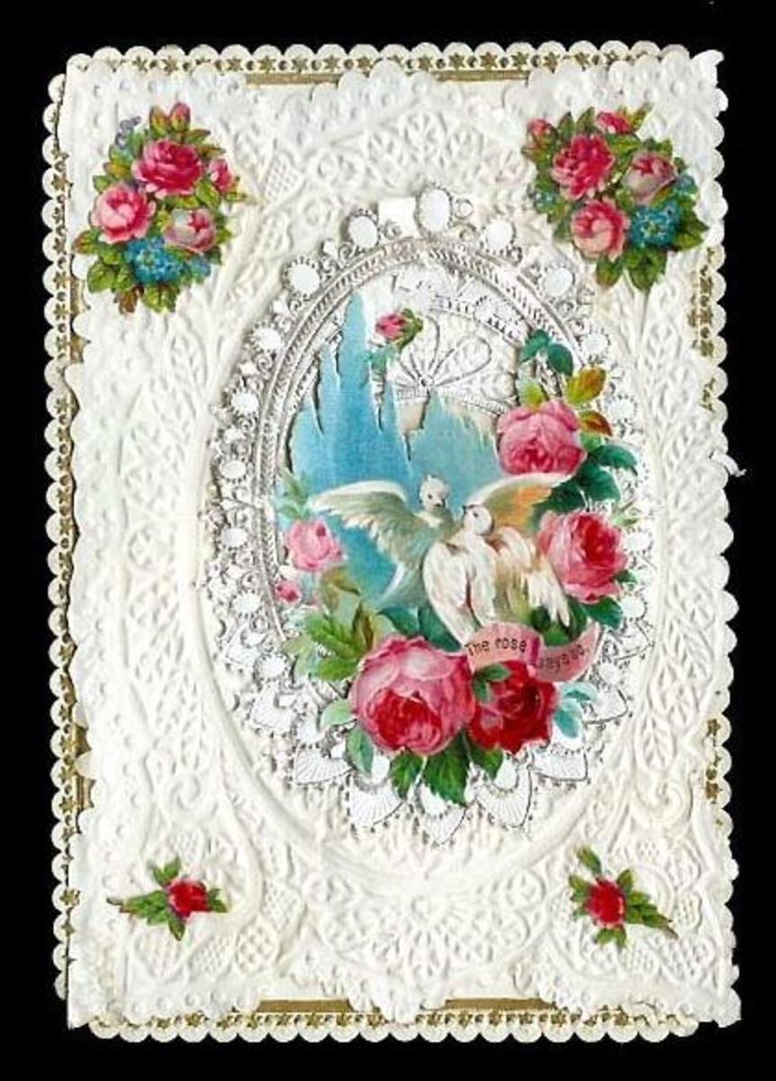 White lace, red and pink roses and two white doves free vintage valentine card