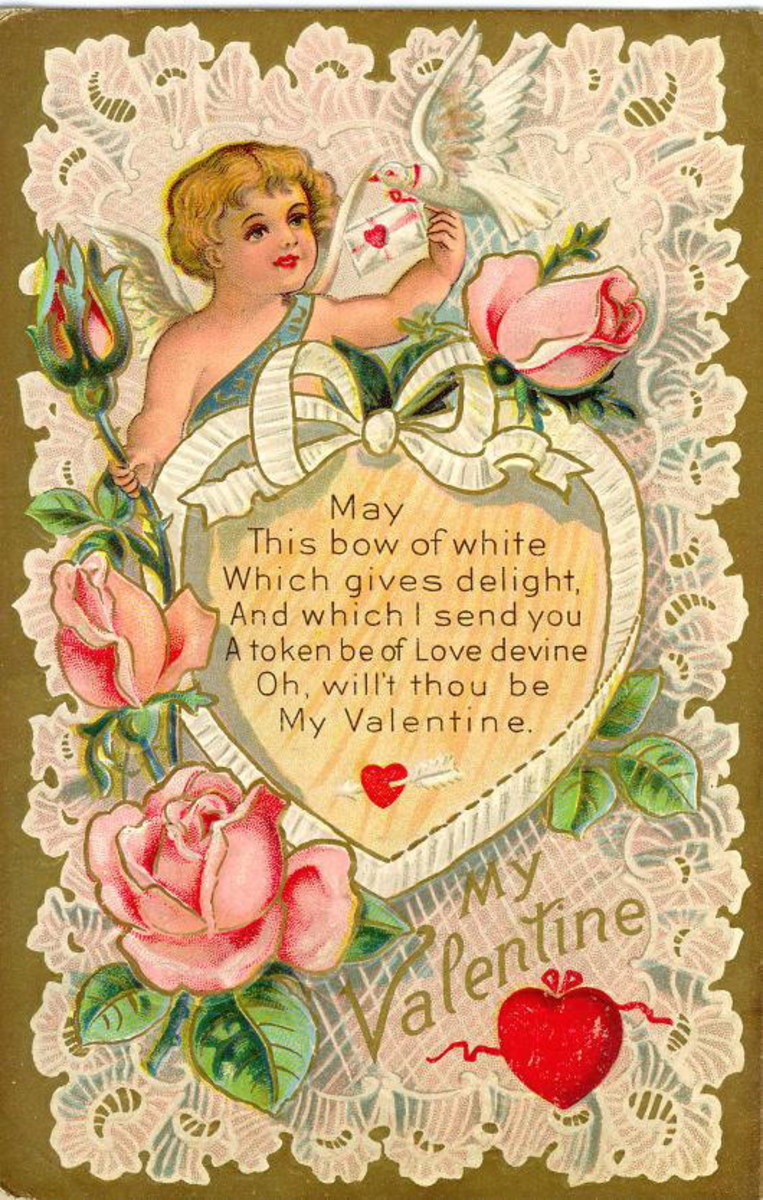 Victorian valentine card with cherub, ribbon heart, white dove, pink roses and lace background