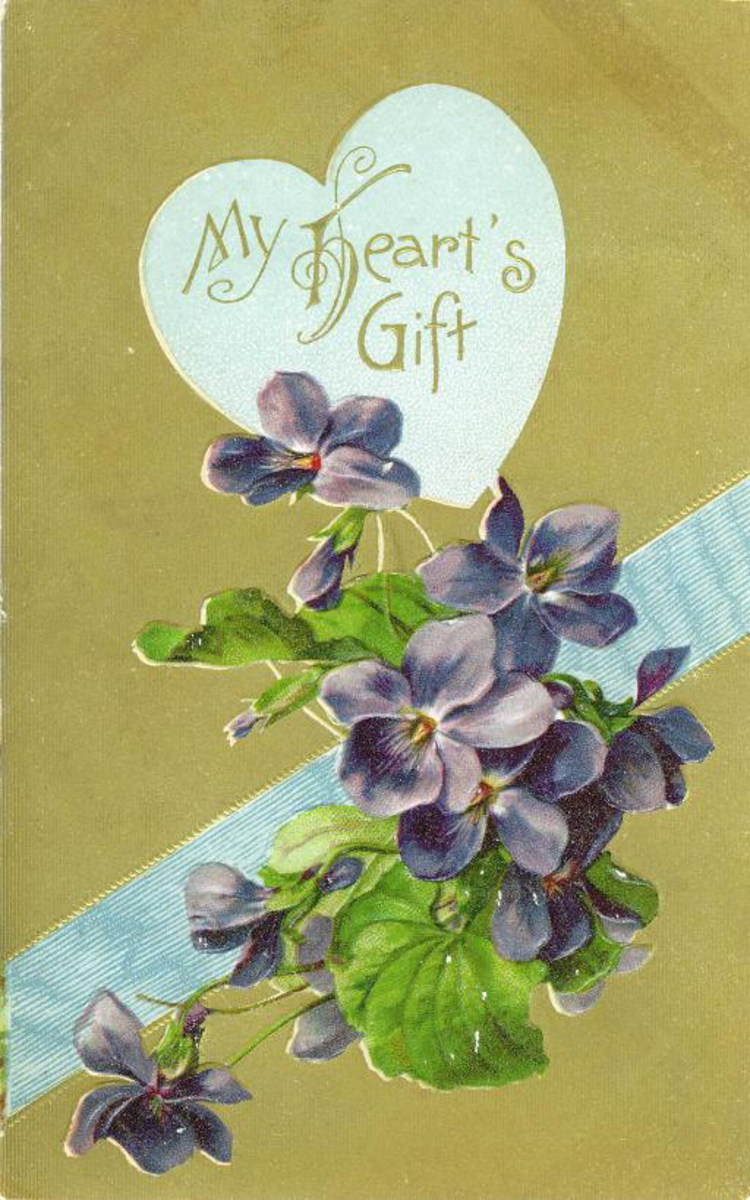 Free vintage violets valentines card with gold background