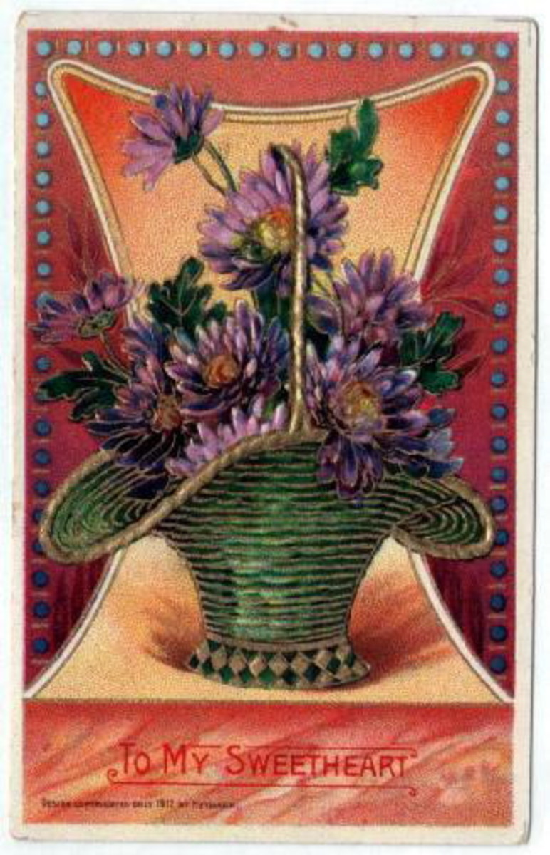 Green basket with purple chrysanthemums free vintage valentine card