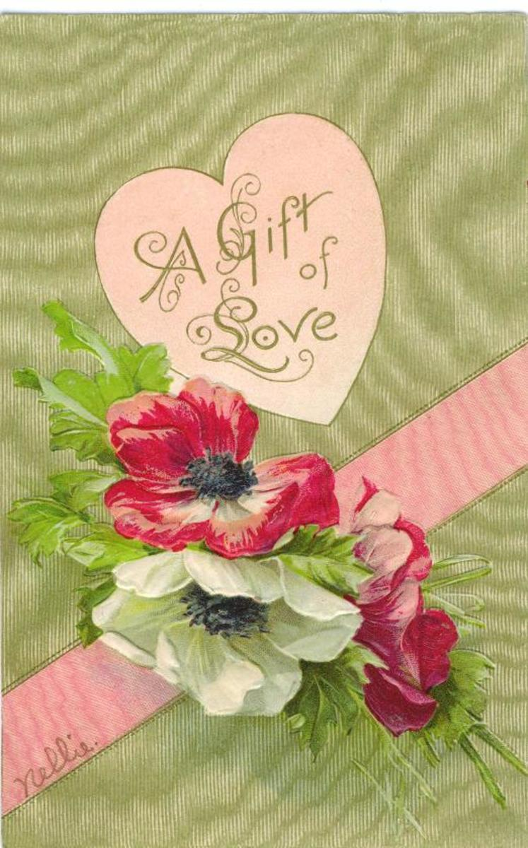 Pink and green peonies with gold moire background free Valentine's Day card