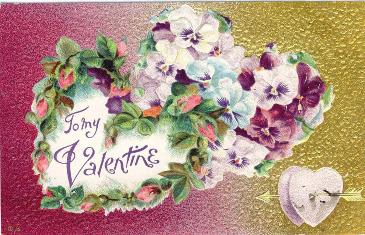 Free vintage valentine greeting card with hearts made of pansies and pink rosebuds; hammered tin background