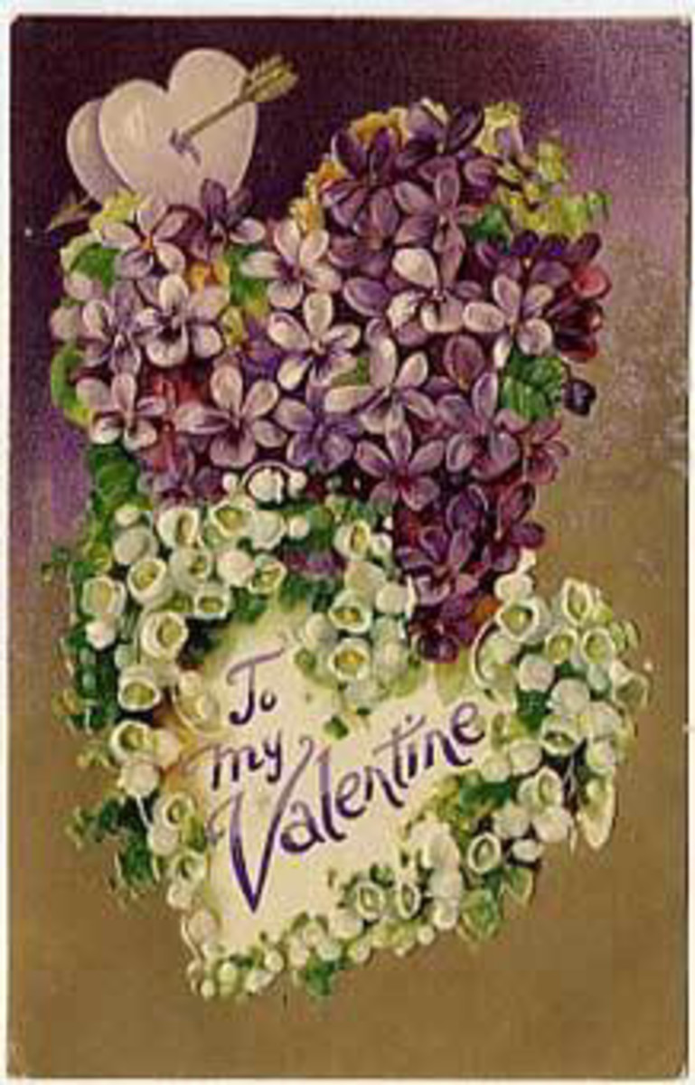 Free vintage valentine hearts made of flowers