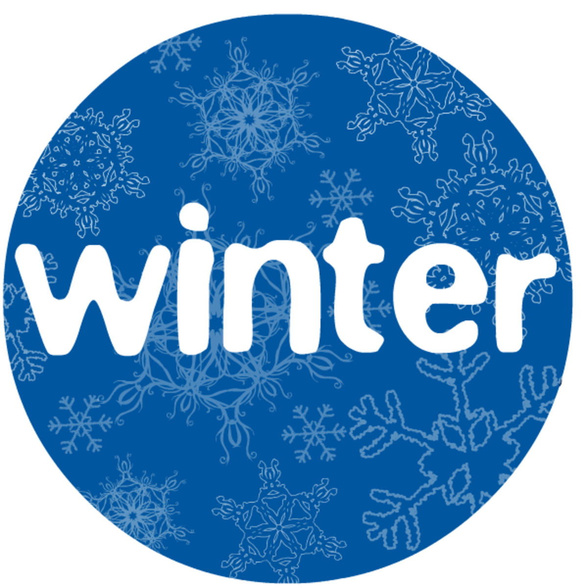 Winter clip art: Winter typography with snowflakes in a circle